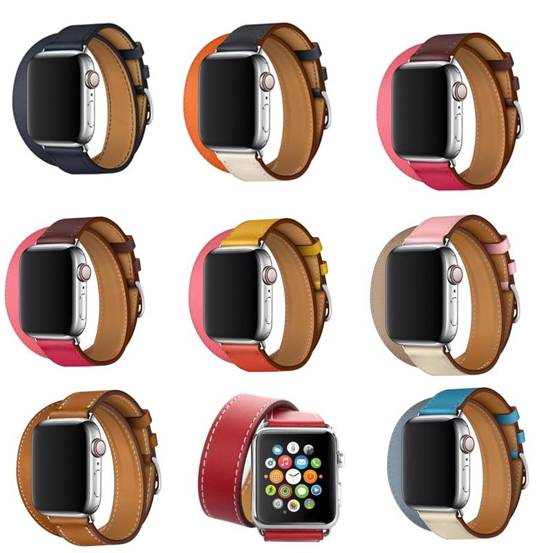 Correa de cuero para apple watch bandas 42mm 44mm pulsera para iwatch banda 38mm 40mm doble recorrido SERIE DE gomillas 5 4 3 2 1
