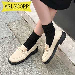 Plus Size 34-46 Metal Buckle Decoration Oxford Shoes Woman Soft Leather Moccasins Flats Ladies Girls Casual Loafers Creepers