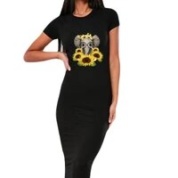 casual women bodycon dress elephant sunflower print fall short sleeve pencil dress clothes elegant party vestidos robe