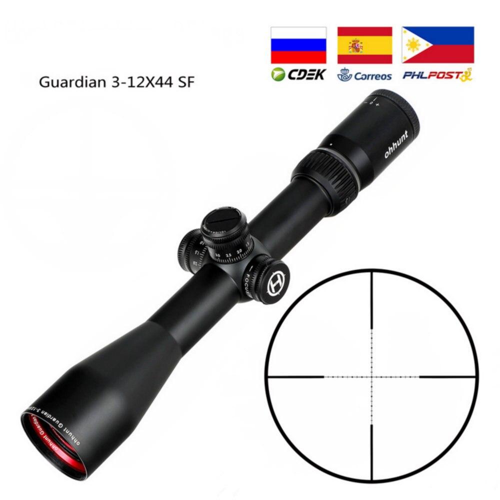 Guardian 3-12X44 SF Rifle de caza alcance 1/2 medio Mil Dot retícula lateral Parallax Turrets bloqueo reinicio táctico Riflescopes