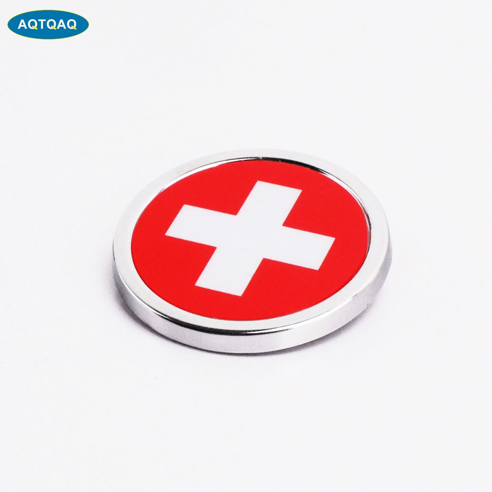 1 Pcs Car Exterior Accessories Switzerland Flag Sticker Metal MINI Round Emblem For  Toyota Rover Dodge Skoda
