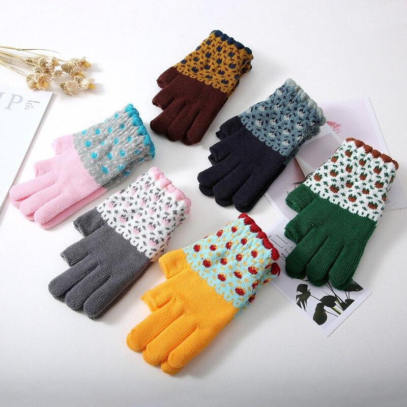 Кашемировые рукавицы унисекс с открытыми пальцами, велосипедные рукавицы, цветные Заблокированные жаккардовые перчатки, перчатки для сенс...