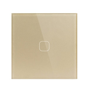 EU/UK Standard,1 Gang 1 Way Wall Touch Switch, White Crystal Glass Switch Panel, 220-250V, Only Touch Function