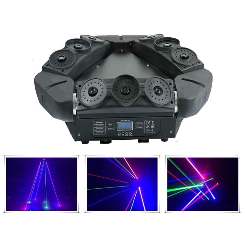 Proyector láser de araña de 9 ojos RGB con cabezal móvil proyector profesional DMX Srage iluminación haz de luz DJ discoteca luces de fiesta
