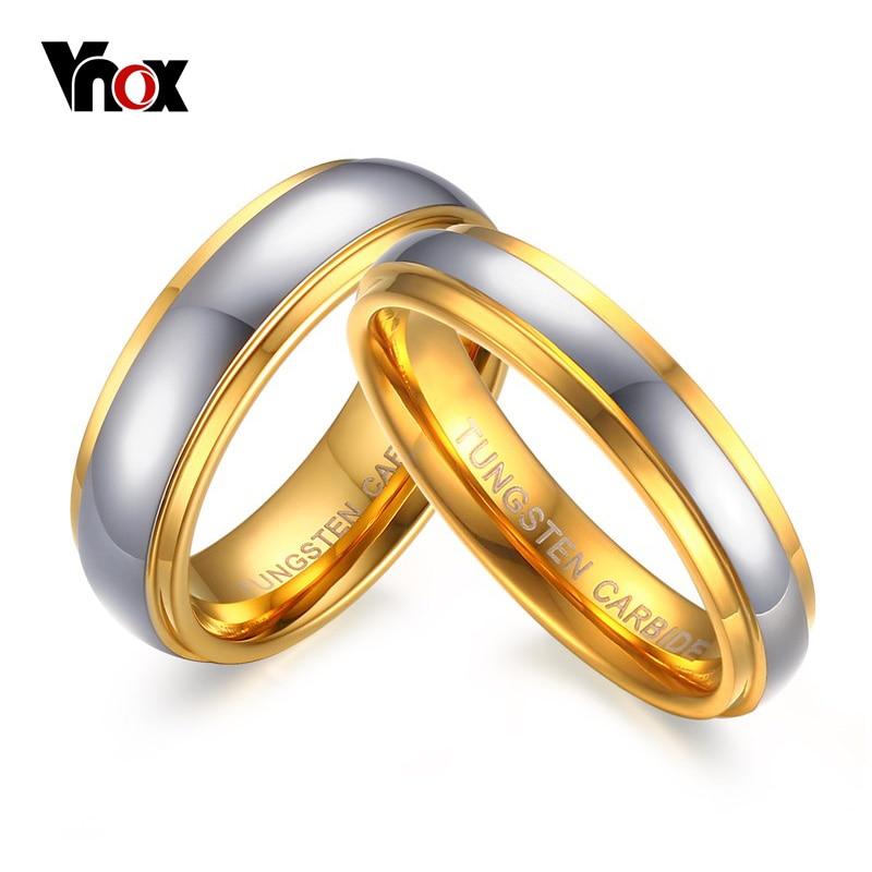 Vnox Jewelry его и ее полировки Центр Шаг край Вольфрам карбида обручальное кольцо для женщины Для мужчин 6 мм /4 мм цена для 1Pce