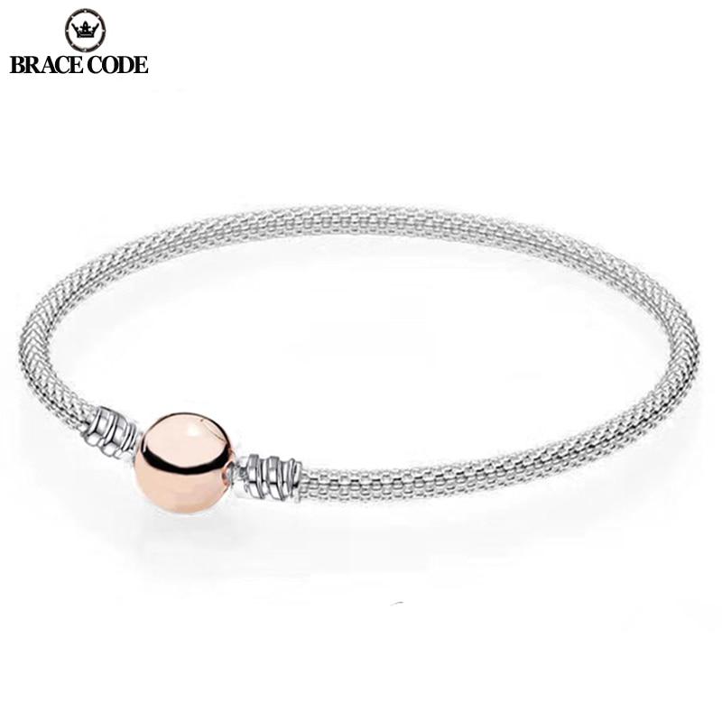 BRACE CODE High Quality Steel Wire Weaving Pandoro Bracelet & Bangle For Women Fit Original DIY Beads Charm Bracelet Jewelry