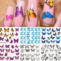 butterfly nail stickers nail art transfer decals foils blue design tip wraps water sliders acrylic manicure decoration