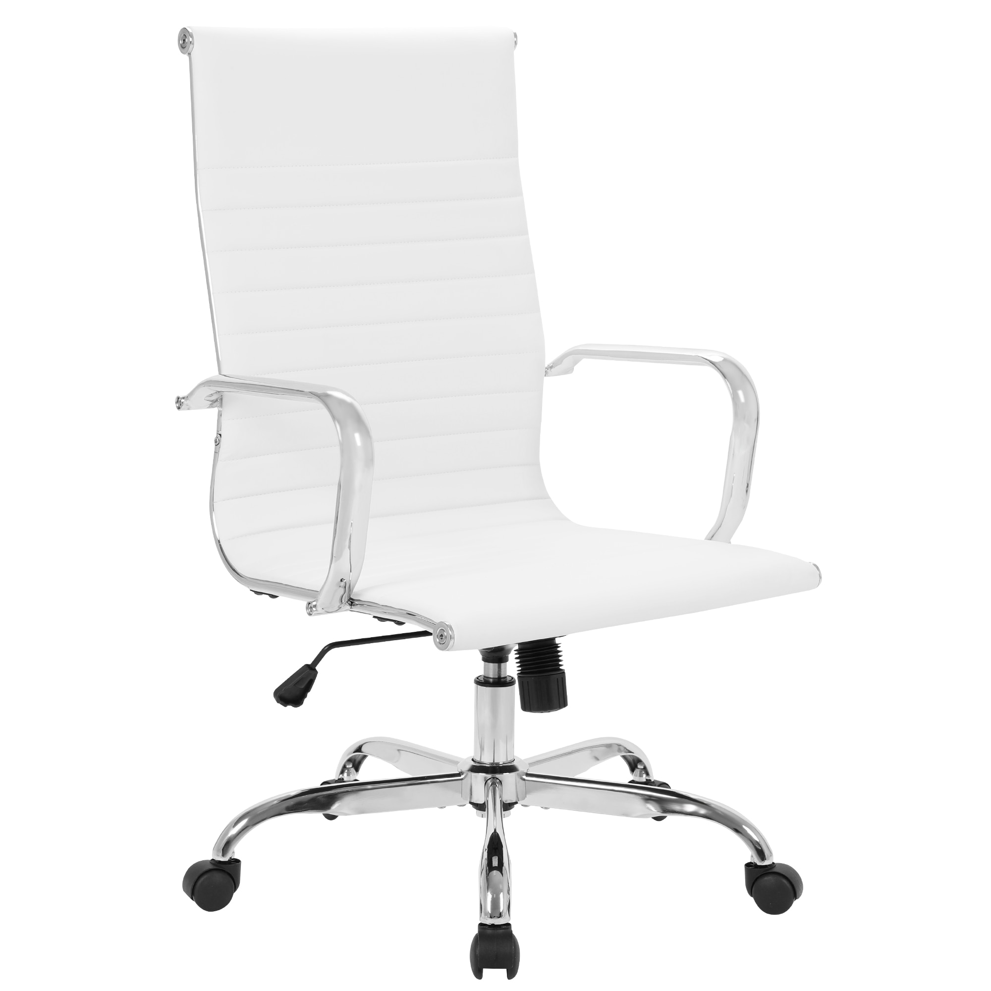 homall ribbed office chair mid back pu leather executive conference desk chair adjustable swivel chair with comfortable arms GOSKEY High Back Office Chair PU Leather Ribbed Swivel Tilt Adjustable Home Desk Chair with Armrest Executive Conference