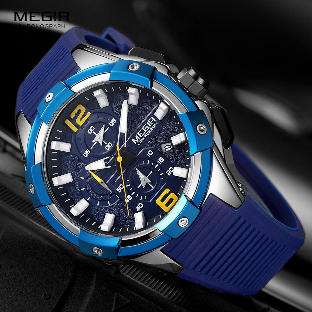 MEGIR-ساعات رياضية عسكرية للرجال ، كوارتز ، كرونوغراف ، سوار سيليكون أزرق ، ساعة يد رجالية ، 2020