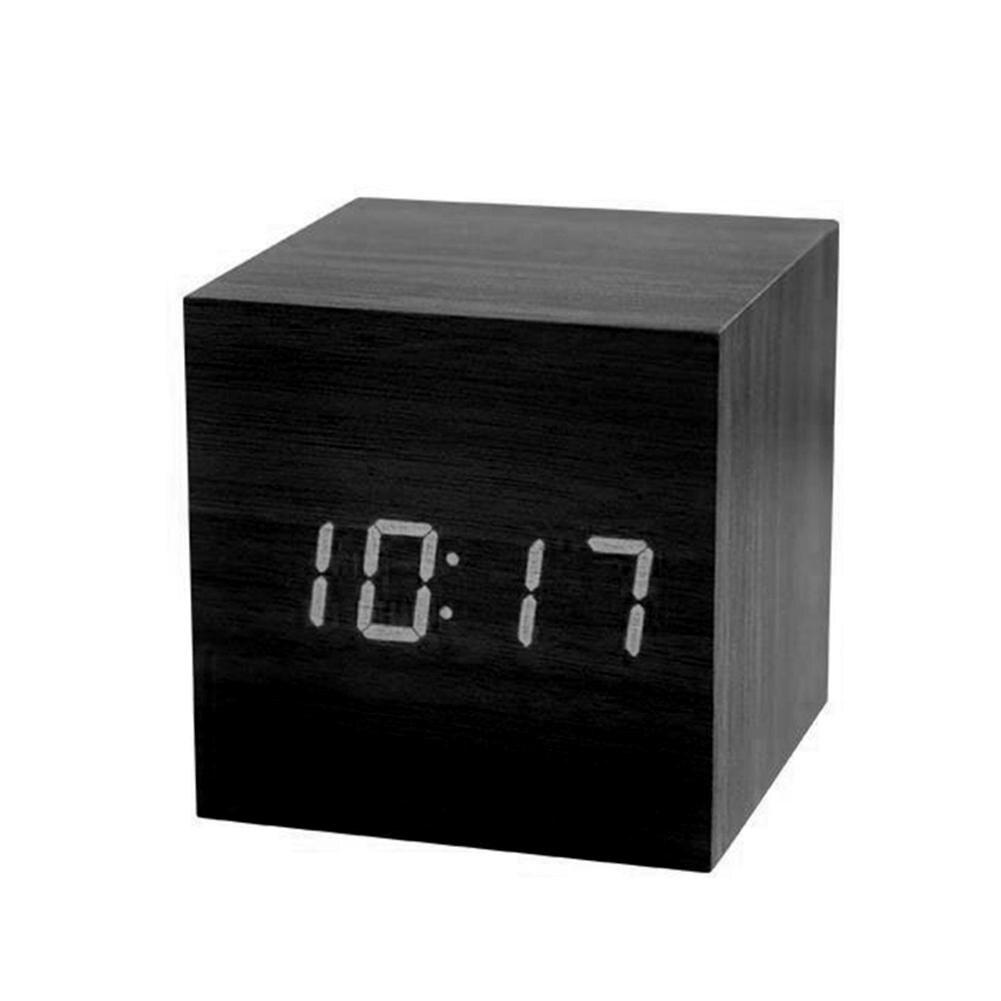 New Solid Color Digital Wooden LED Alarm Clock Wood Retro Glow Clock Desktop Table Decor Voice Control Snooze Function Desk Tool