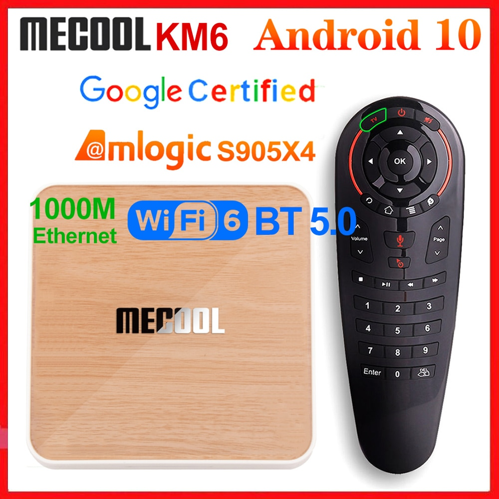 Mecool KM6 Deluxe ATV Amlogic S905X4 Smart Android 10.0 TV Box 4GB RAM 64GB ROM 2.4/5G WiFi BT 4K An