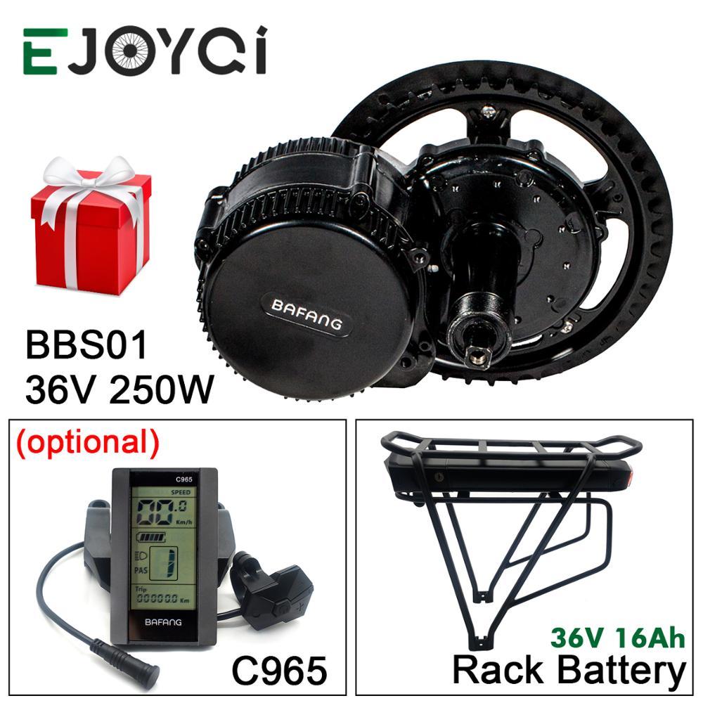 Bafang 8FUN 36V 250W BBS01B MMG340 16Ah Rack batería 850C SW102 de Motor Kit de conversión Ebike con luz