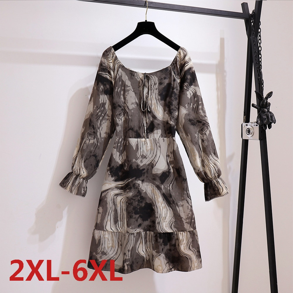 Grey Big Size Vintage Dresses Fashion Short Sleeve Solid Casual Dress Loose Tie-dye 0-neck Shirt Dress Plus Size A-line skirt plus butterfly sleeve self tie shirt dress
