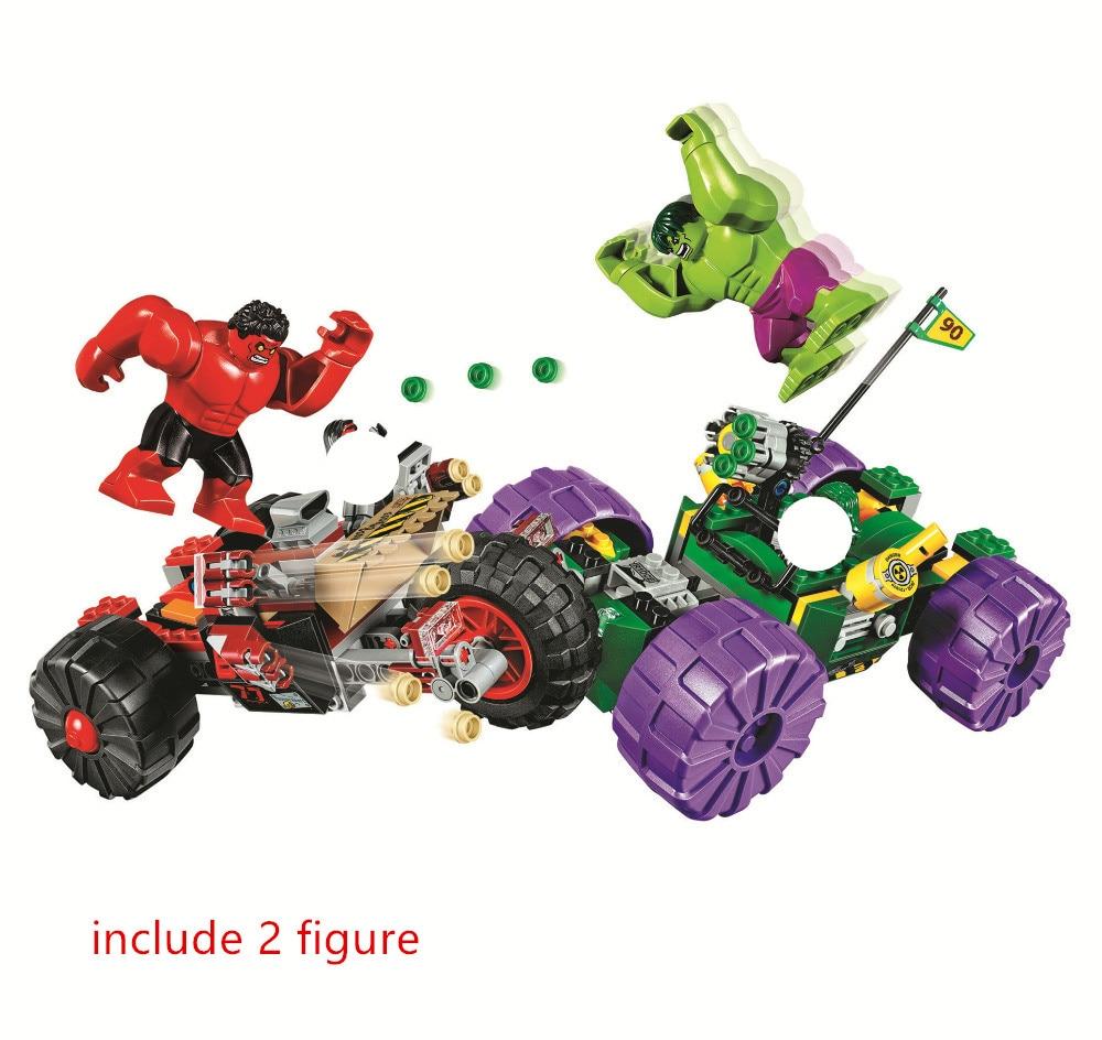 Batman Super Heroes Hulk vs Red Hulk Building Blocks kits Bricks Movie Model Kids Classic Toys For Children Gift Marvel
