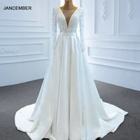 j67197 jancember simple white wedding dress 2020 a line pearls lace up back deep v neck pleat long sleeve
