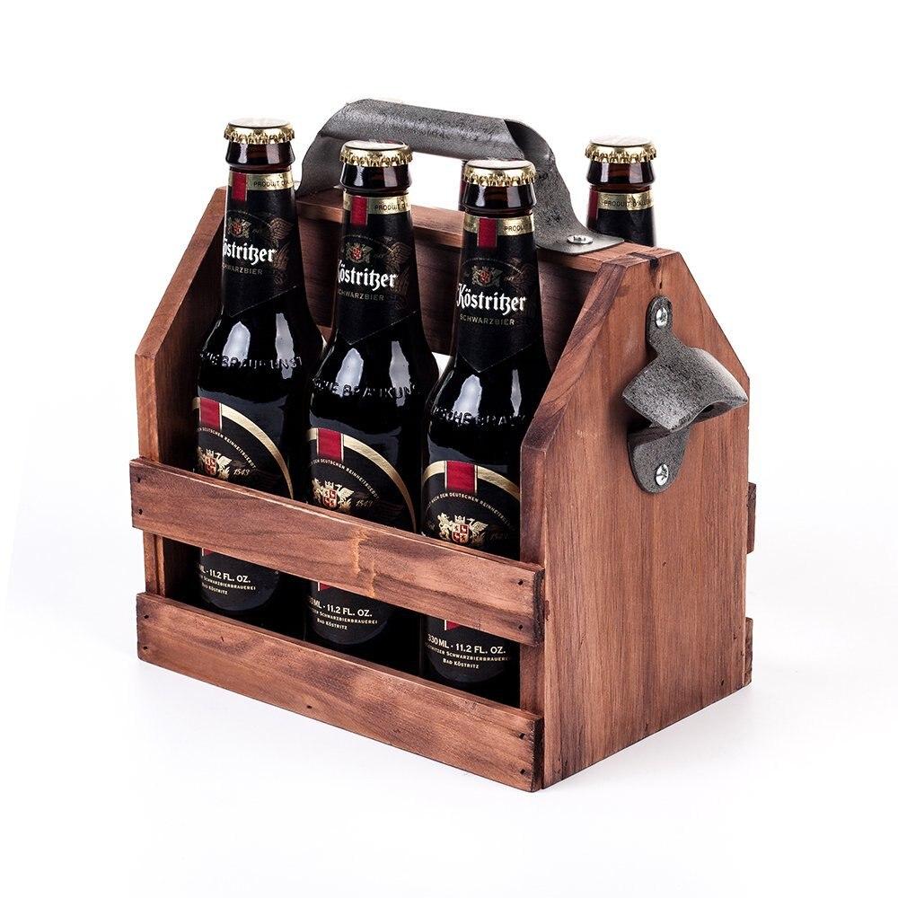 Garrafa de Vinho madeira Caddy 6-Pack de Cerveja Carrier com Built-In de Metal Abridor de Garrafa de Vinho Madeira Rack de Cerveja titular Interior/Uso Ao Ar Livre