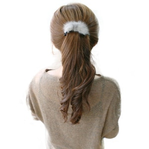 100% меховые аксессуары для волос для конского хвоста искусственная меховая Пряжка для конского хвоста меховая заколка для волос аксессуары для волос оптом