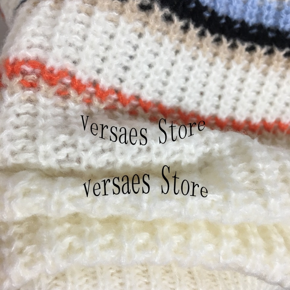 2021 luxury design high-end design stripe knitted women's Pullover Top temperament versatile round neck loose knitted sweater enlarge