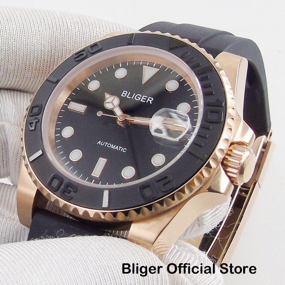 Relógio de Ouro Bliger Moda Japão Rosa Case Relógio Automático Masculino Miyota Movimento Ceremic Bezel Nh35 40mm