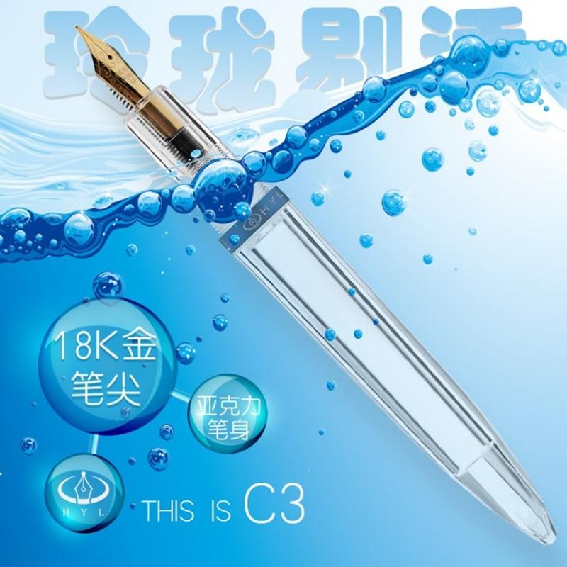 Nuevo Cuentagotas pluma fuente totalmente transparente de gran capacidad de almacenamiento de Iridium bien EF/F pluma de tinta de Punta bolígrafo de regalo para negocios