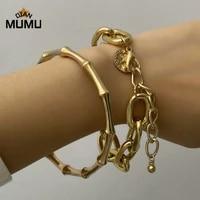 2021new 4pcs punk curb cuban chain bracelets set for women miami boho thick gold color charm bracelets bangles fashion jewelry