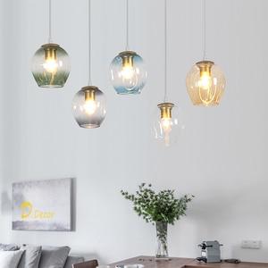 Modern LED Glass Pendant Lights Dining Room Decoration Pendant Lamp Living Room Restaurant Lamp Bedroom Indoor Hanging Lighting