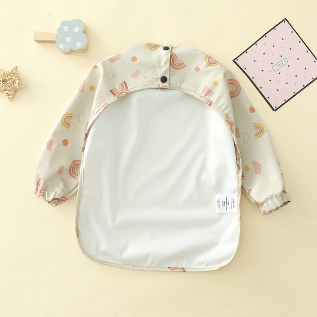 Baby Kids Toddler Long Sleeve Scarf Waterproof Art Smock Feeding Bib Apron Pocket Infant Boys Girls Burp Cloth Bibs Drooling 10