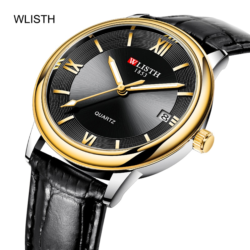 WLISTH أفضل العلامة التجارية الرجال الميكانيكية ساعة اليد موضة عادية التلقائي ساعة جلدية عالية تعزيز الزجاج مقاوم للماء الرياضة