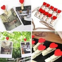 5 pieces 10 pieces Mini Photo dossier doux coeurs en bois chevilles mode fete de mariage decor a la maison artisanat creatif Clips Photo