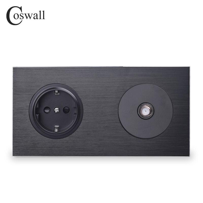Cosmall lujoso Panel de Metal de aluminio negro enchufe de pared estándar de la UE + 1 Gang conector de satélite serie 172*86mm R12
