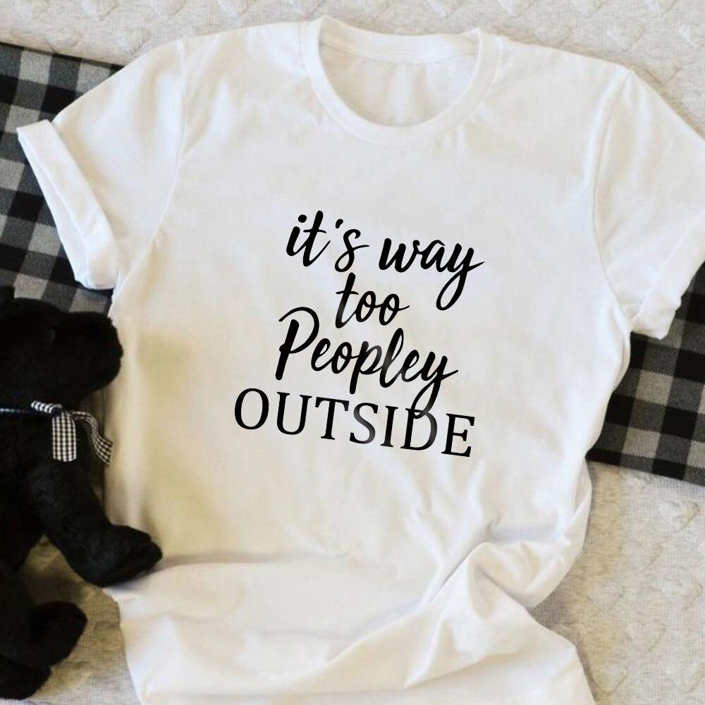 QIM mujeres camiseta divertida Anti-Social camisetas mujeres divertidas camisetas mujeres, es demasiado popular fuera-Anti personas camisas 2019