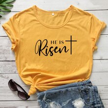 He Is Risen 100%Cotton T-shirt Unisex Religious Christian Jesus Tee Shirt Top Casual Women Short Sle
