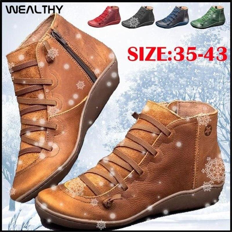 Femmes riches hiver bottes de neige en cuir PU cheville chaussures plates automne court croix à bretelles Vintage fermeture éclair à lacets bottes Botas Mujer