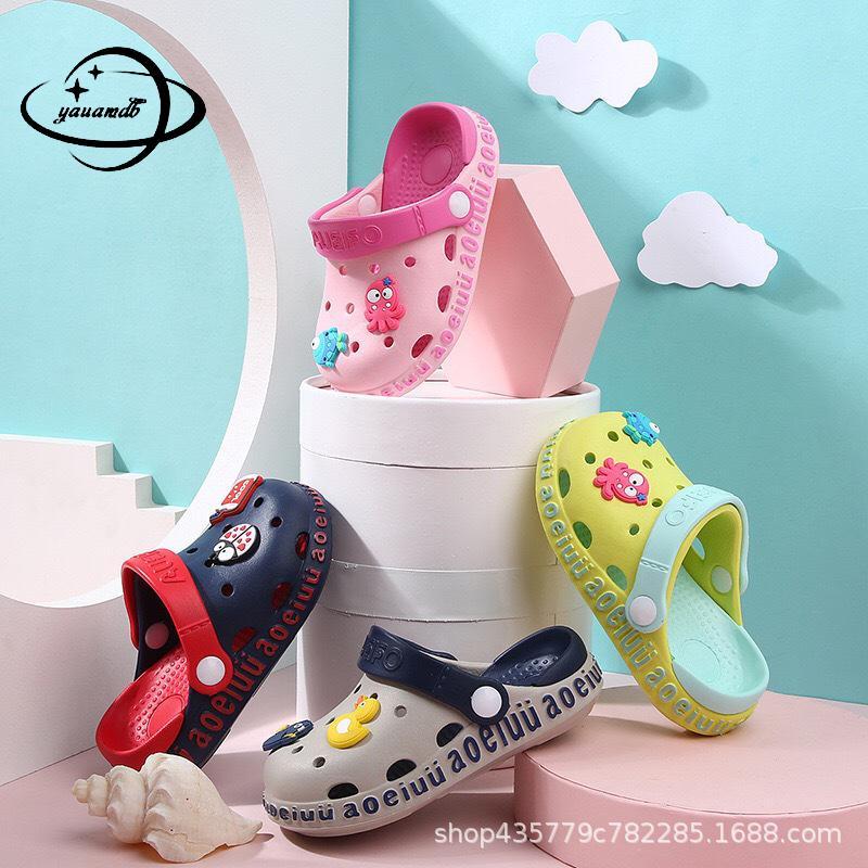 0-6y Kids Mules & Clogs Summer Boys Girls Croc Sandals Flat Heel Cartoon Non-Slip Soft Beach Slippers Children Garden Shoes C12