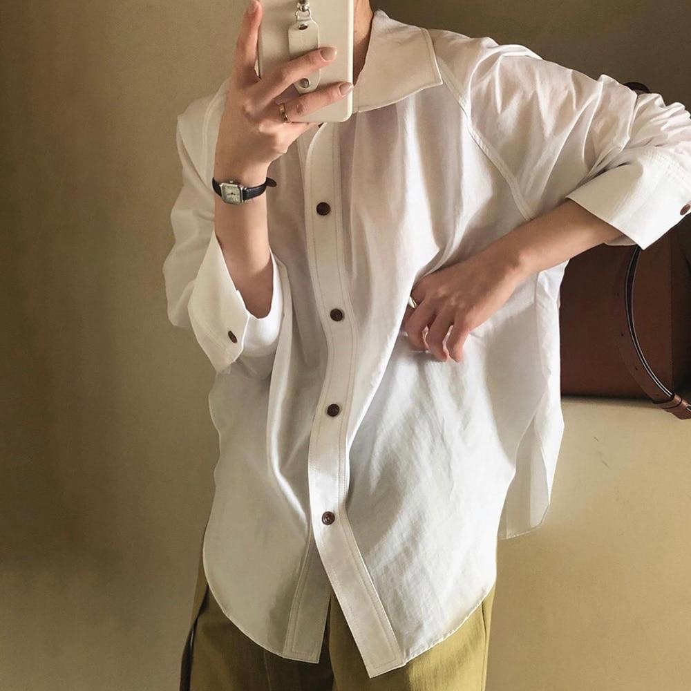 Autumn New 2021 Solid Color Lapel Long Sleeve Women's Clothing Blouse Korean Fashion Simplicity Casu