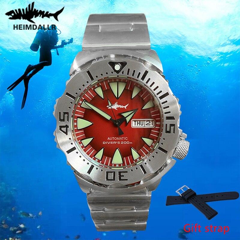 Heimdallr التلقائي ووتش الرجال PVD الأسود حالة NH36A الياقوت كريستال الأحمر الهاتفي الساعات الرجال الغوص ووتش 200m C3 مضيئة ساعة اليد