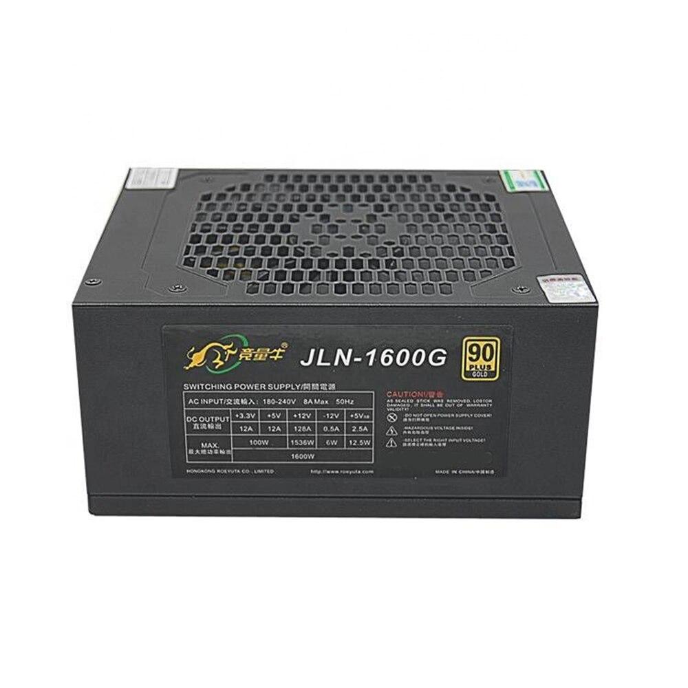 JLN-1600G 1600 واط PSU ATX التعدين إمدادات بطاقة الآلة 180-240 فولت المدخلات EMC تحويل التيار الكهربائي دعم 6/8 وحدة معالجة الرسومات ل تعدين البيتكوين