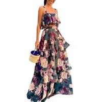 floral print two piece set sexy skirt suits women 2021 chiffon ruffles crop topmaxi long skirt boho high waist skirts ld1749