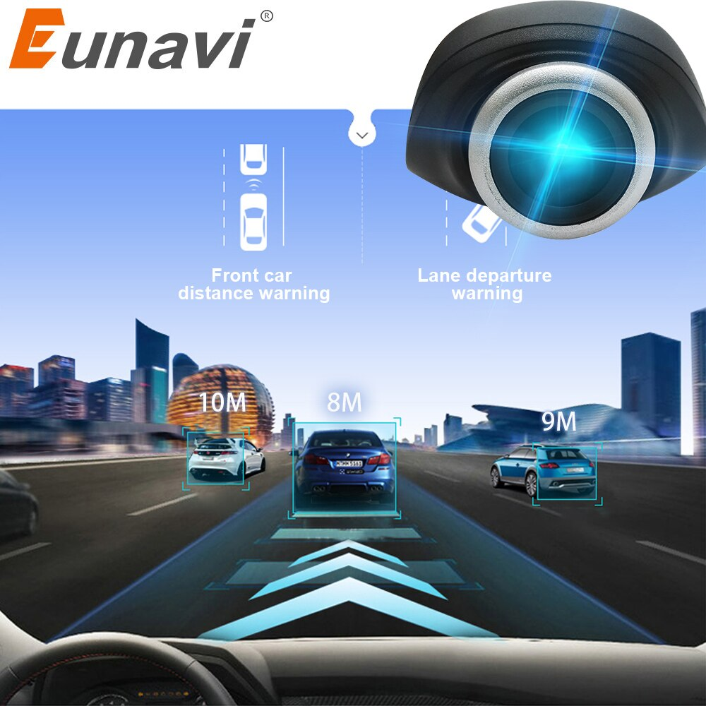 Eunavi جهاز تسجيل فيديو رقمي للسيارات كاميرا USB موصل مركبة HD 1280*720P DVRs لنظام أندرويد OS كاميرا صغيرة مسجل قيادة السيارة مع ADAS