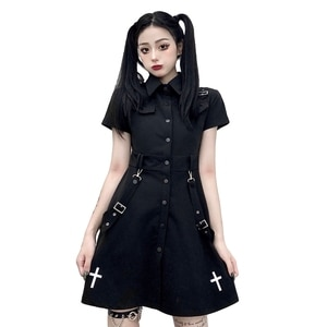 Summer Harajuku Gothic Dress Women Vintage Fashion Punk Shirt Dresses Girls Japanese Streetwear Cosplay Party Black Mini Dress