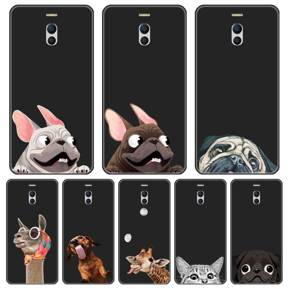 Caja del teléfono para el Meizu M6 M5 M3 M2 Nota de silicona suave gato perro PUG de cubierta para Meizu M2 M3 M3S M5 M5C M5S M6 M6S M6T caso