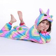 Пижамы для девочек с изображением радуги, единорога, кигуруми, панды, единорога, пижамы для детей, одеяло для сна, пижамы для мальчиков с рисунками животных из мультфильмов
