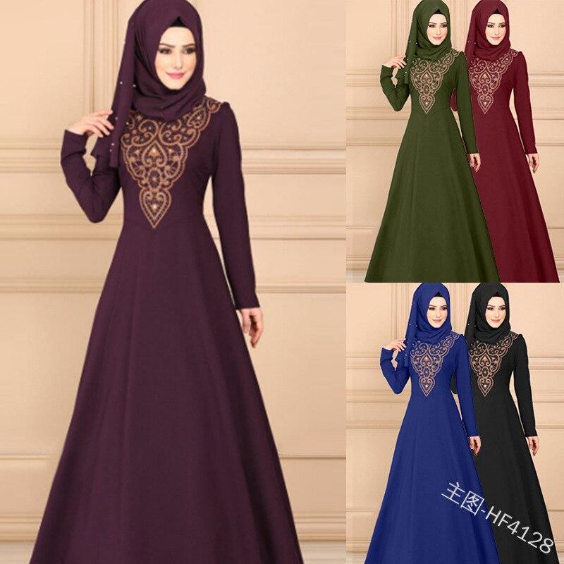 2019 nueva llegada verano elegante estilo de moda mujer musulmana impresión talla grande abaya S-5XL