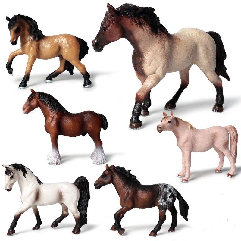 игровые наборы Фигурки лошадей игрушки Моделирование несколько Цвета модель лошади фигурка мягкого прочного ПВХ игрушки развивающие игровые наборы для д...