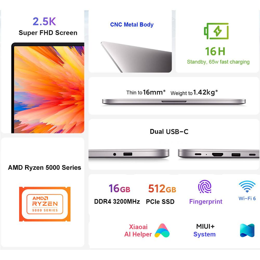 Xiaomi RedmiBook Pro 14 Laptop AMD Ryzen R7-5700U/R5-5500U AMD RX Vega 8/7 14'' Notebook 16G DDR4 RAM 512GB PCIe SSD Windows10