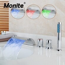 Monite LED Waterfall Bathroom Basin Faucet Deck Mounted Washbasin Bathroom Tap 5 Pcs Set Flush Cold Hot Water Mixer Taps
