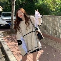 women vintage striped sweaters autumn long sleeve oversize knit sweater hip hop ulzzang bf unisex couples winter pullovers tops