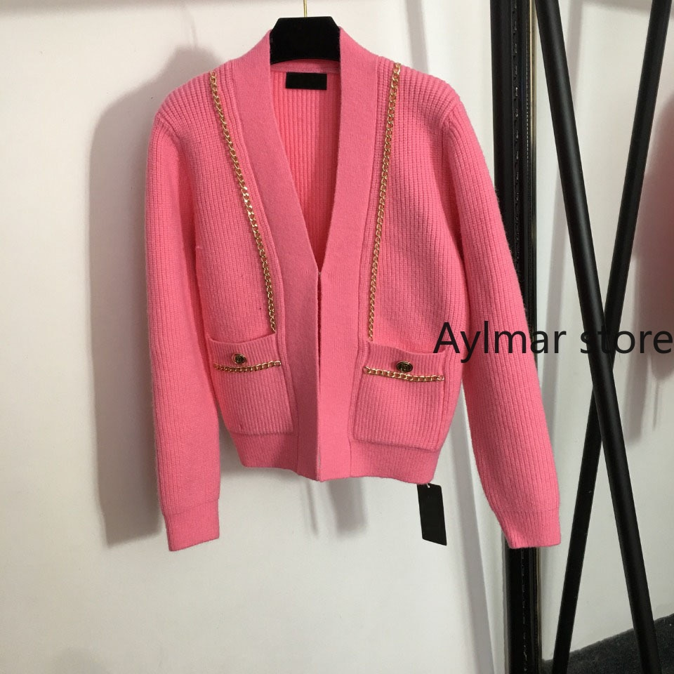 High quality 2021 autumn and winter gold chain decorative V-Neck long sleeve knitted pink cardigan fashionable women's coat enlarge