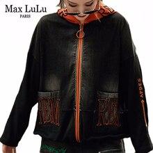 Max LuLu 2019 mode coréenne Streetwear dames Denim Patchwork vestes femmes lâche à capuche manteaux décontracté automne vêtements grande taille