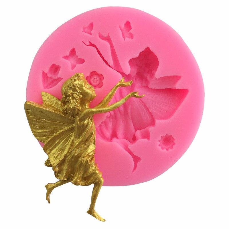 Цветок в стиле Феи-бабочки Fondant (сахарная) силиконовая форма для DIY кондитерские кекс Десерт Кружева Украшение для торта, Кухня Аксессуары ин...